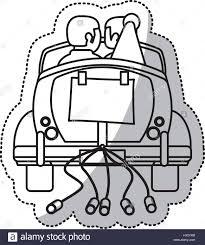 couple car just married outline stock vector art u0026 illustration