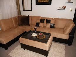 furniture comfortable beige sofa with dark ottoman tray