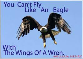 birds quotes you can t fly like an eagle with the wings of a wren