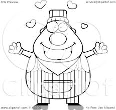 train hat coloring page cartoon clipart of black and white happy traingineer boy over blank