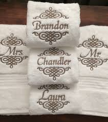 set of mr and mrs monogrammed towels creative appliques