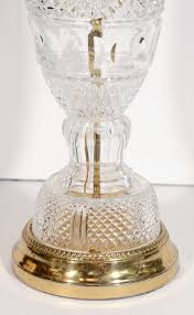 pair of baccarat style hollywood regency cut crystal lamps at 1stdibs