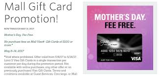 no fee gift cards fee free visa gift cards at macerich malls 5 8 5 14 doctor of