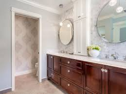 transitional master bathroom with spacious cherry wood vanity