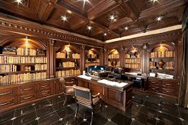 Desk Molding Traditional Home Office With Complex Marble Tile Floors U0026 Crown