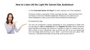 all the light we cannot see audiobook all the light we cannot see audiobook mp3 online download audiobook