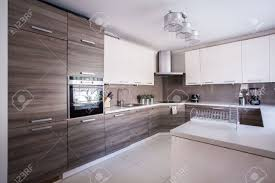 image of large luxury kitchen furnished in modern design stock