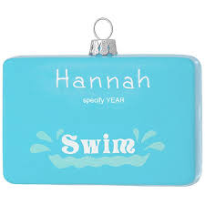personalized swimming pool glass ornament sports