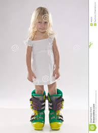 little in in big ski boots stock images image 7859334