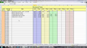 household inventory spreadsheet and food inventory spreadsheet