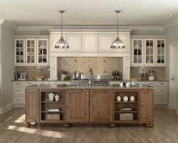white antiqued kitchen cabinets with backsplash tiles granite countertop stainless steel cooktop under recessed lamps