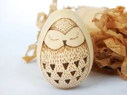 wooden easter eggs owl wooden egg wood burning egg wood burned owl