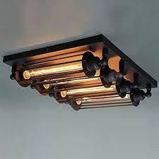 industrial flush mount light lighting 4 light black industrial loft steunk steel ceiling light