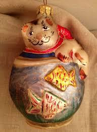 vintage christmas blown glass ornament cat fish bowl glitter large