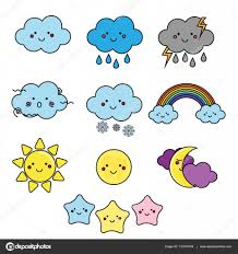 weather and sky elements kawaii moon sun clouds vector