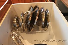 organize pot lids with a drying rack fun cheap or free