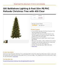 gki bethlehem lighting 6 foot slim pe pvc palisade tree wi