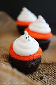 decadent dark chocolate cupcakes with fluffy meringue ghosts make