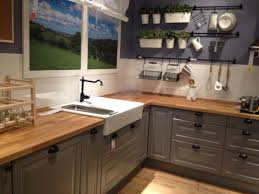 ikea gray kitchen cabinets with butcher block counter top home