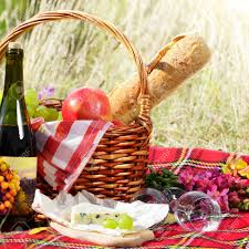 Picnic Basket Ideas Basket With Wine Cheese And Fruits Picnic Ideas Concept Stock
