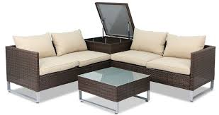 Royal Synthetic Rattan Outdoor Sofa Set With Storage Box Brown - Rattan outdoor sofas
