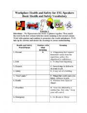 basic health and safety vocabulary for english students matching