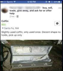 coffin for sale advert for a used coffin has the baffled