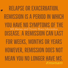 Ms Memes - relapse or exacerbation remission is a period in which you have no