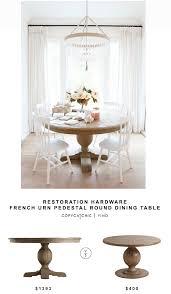restoration hardware french urn pedestal round dining table