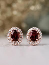 14 carat gold earrings jewelry rhodolite garnet and diamond halo solid 14