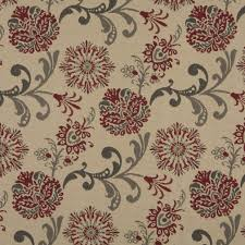 outdoor upholstery fabric red gray and beige floral foliage woven outdoor upholstery fabric