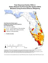 Florida Aquifer Map by 1275 1650 Total Dissolved Solids Tds In Status Network Surficial