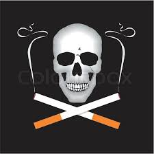 the whith cigars in cross skull and cigarettes stock vector