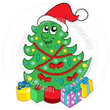 cartoon smiling christmas tree with gifts by clairev toon