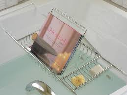 bathtub caddy with book holder lovely book holder for bath photos bathroom with bathtub ideas