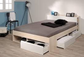 chambre acacia lit 140x190 200 cm puzzle acacia et blanc lits but