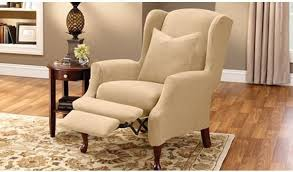 sure fit slipcovers wing chair recliner and wing chair covers sure fit slipcovers in sure fit