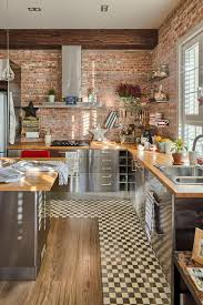 Exposed Brick Wall by Wooden Island And Cabinets Exposed Brick Wall Brown Range And Vent