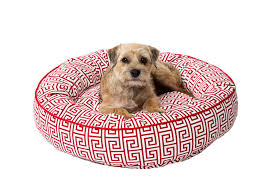 dog nesting bed canine styles red greek key nesting bed dog bed