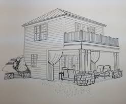 two story pool house by heather rineer artistic sketches