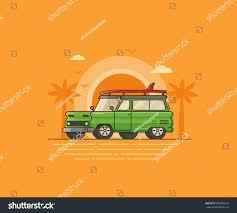 surf car surf car on palm beach background stock vector 608785019