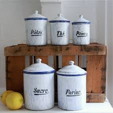 Blue Kitchen Canister Sets Art Deco French Canister Set Bayside Vintage