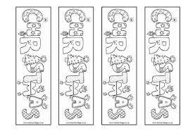 christmas word colouring bookmarks regarding christmas bookmark