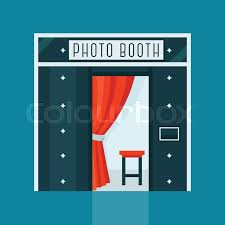 photo booth machine vintage photo booth machine with curtain and chair stock