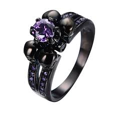 mens skull wedding rings bamos jewelry womens lab purple amethyst diamonds