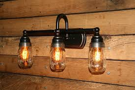 mason jar vanity light wall sconce 3 mason jar bathroom light edison bulbs included