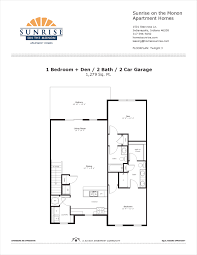 1 Car Garage Dimensions Twilight 3 1 Bedroom Den Floor Plan Sunrise On The Monon
