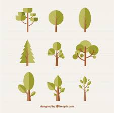 different trees in flat design vector free