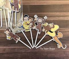 curious george cake topper 12 curious george cupcake toppers cake toppers birthday party