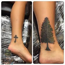 lnztattoos freehand cover up tree evergreen tree coverup